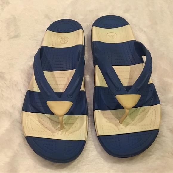 c4a498035d6b0 CROCS Other - Crocs Beach Line Flip Flops Blue White Stripes